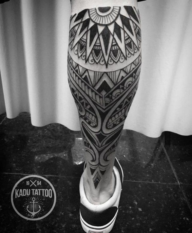 Calf design leg tattoo for men