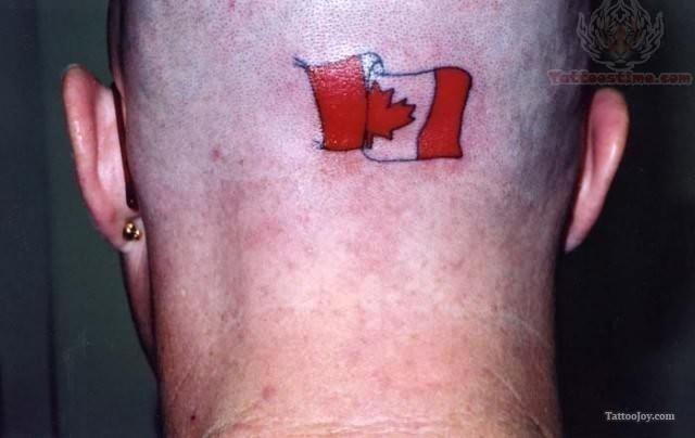 Canadian flag tattoo on back head