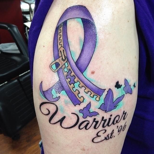 Cancer ribbon tattoo 20