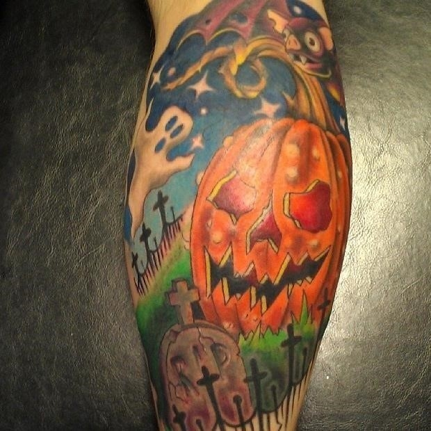 Cemetery tattoo leg calf halloween
