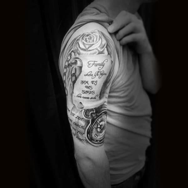 Chained clock and rose touching words family tattoo guys forearms