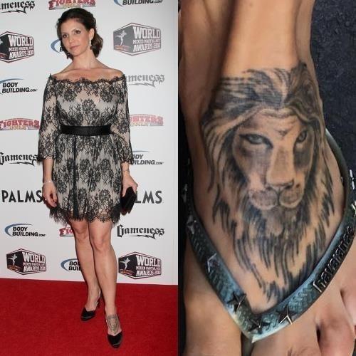 Charisma carpenter lion foot tattoo