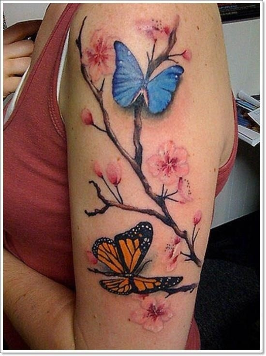 Cherry blossom butterflies tattoo