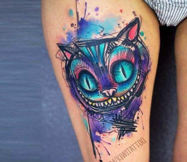 Cheshire cat tattoo 2