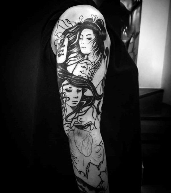 Chinese female portrait sleeev tattoo on male
