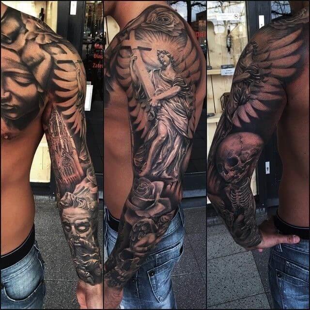 Christianity cross tattoo sleeve