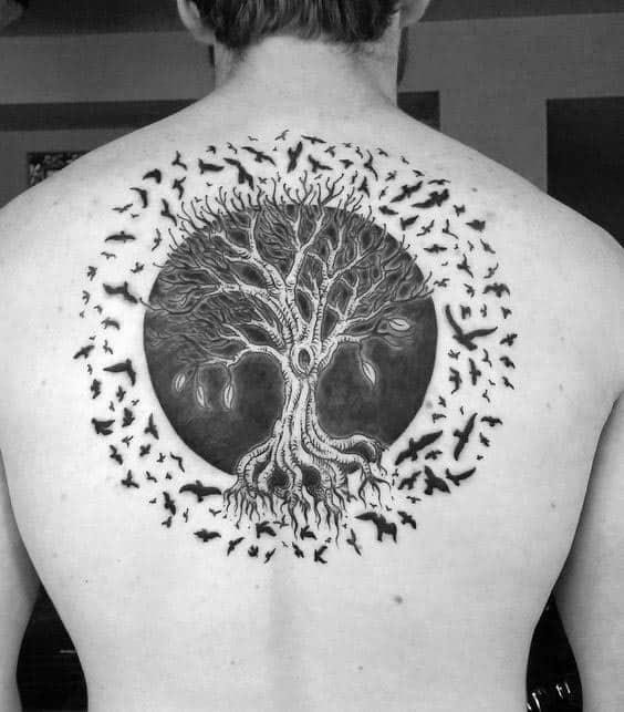 Circle tree of life with birds flying mens upper back tattoo designs