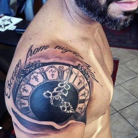 Clock tattoo flash men