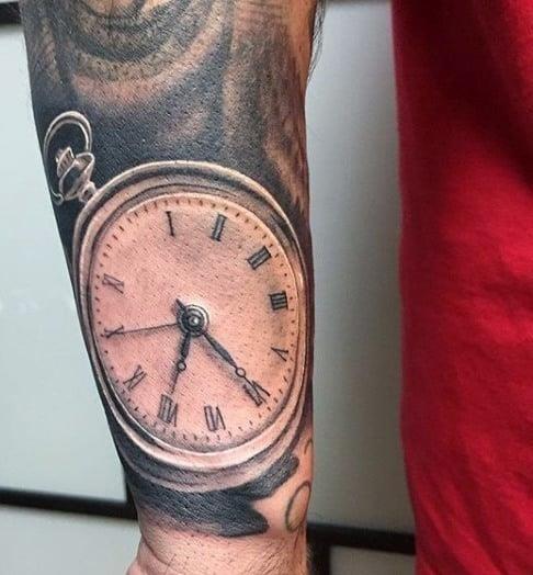 Clock work mens tattoo