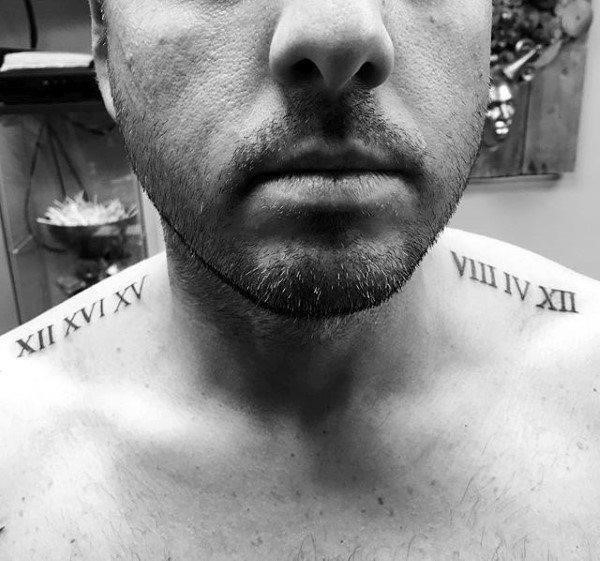 Collar bone male roman numeral tattoo inspiration