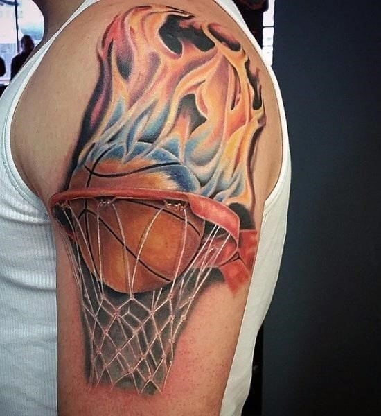 College basketball flame tattoos men