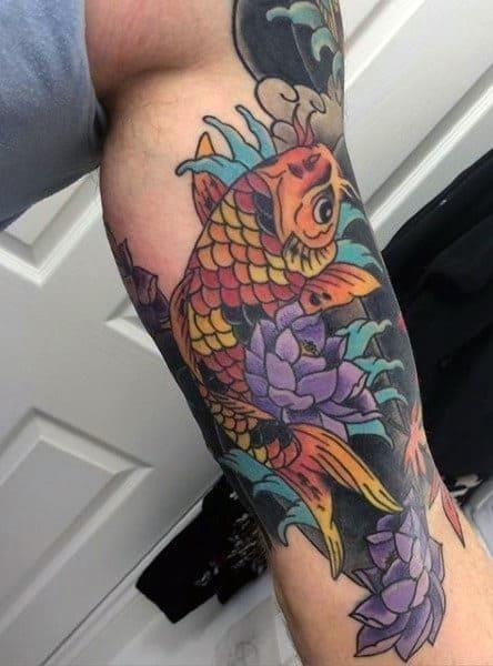 Color mens koi fish leg tattoo