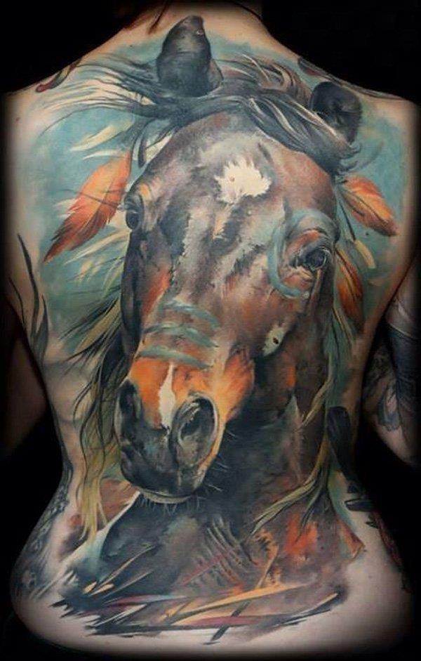Colored horse full back tattoo