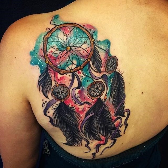 Colorful dream catcher tattoo 22