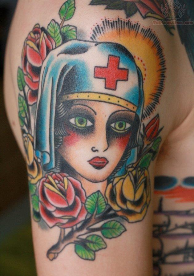 Colorful nurse head tattoo on bicep