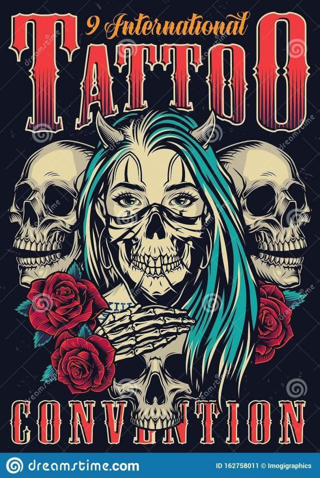 Colorful tattoo fest vintage poster colorful tattoo fest vintage poster horned chicano girl scary mask roses skulls 162758011