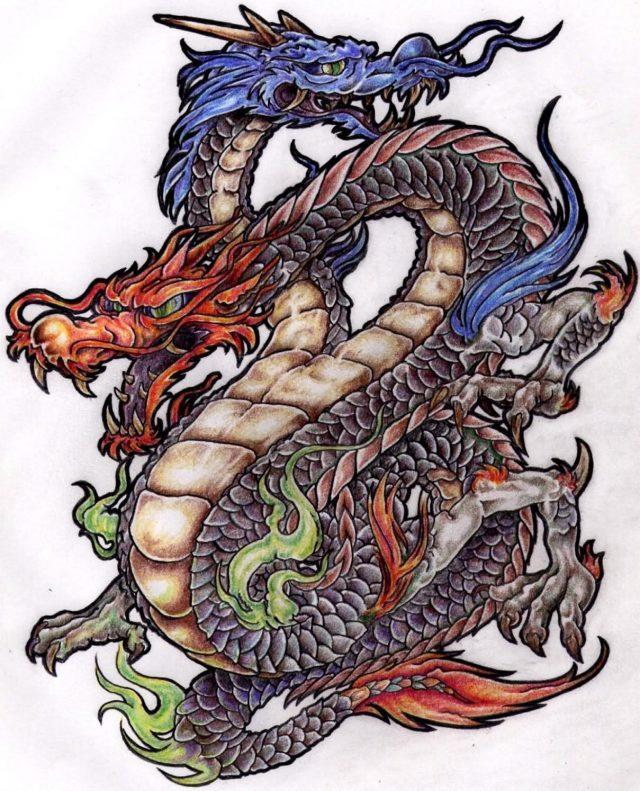 Colourful best dragon tattoo design