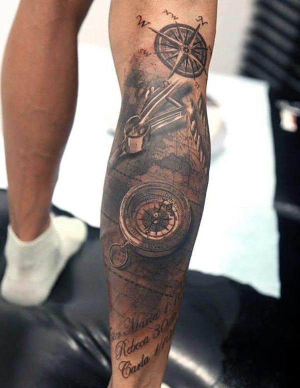 Compass leg tattoo for men
