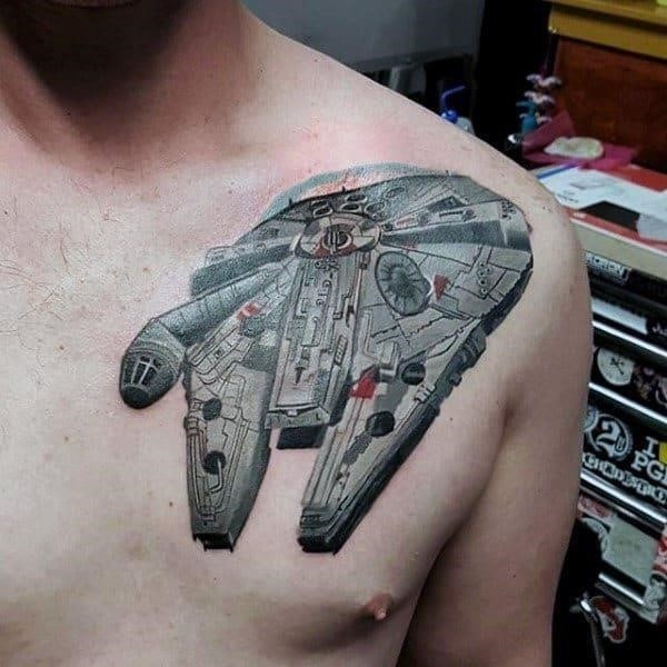 Complicated designed tool star wars tattoo male chest