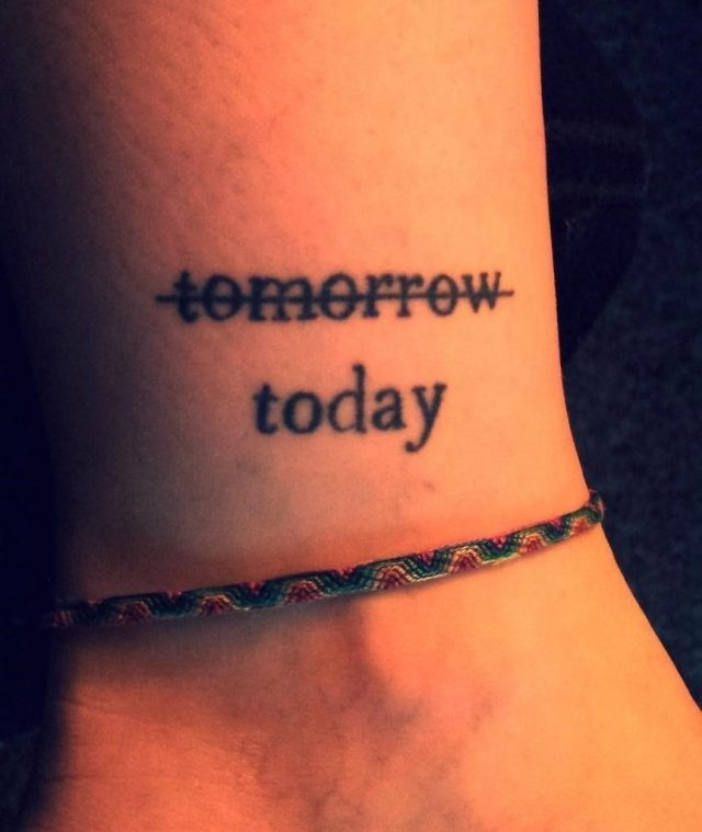 Cool ankle word tattoo