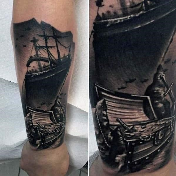 Cool badass mens forearm navy ship with treasure chest tattoo