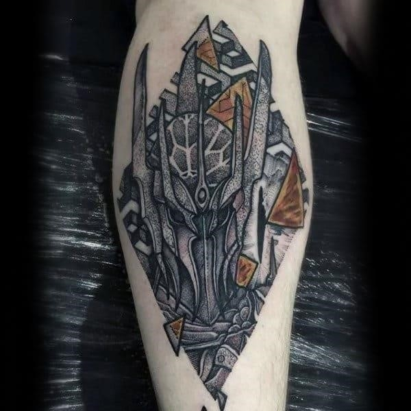 Cool dotwork mask lord of the rings guys leg calf tattoo