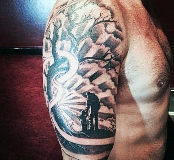 Cool father and son themed tattoo for men