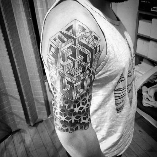 Cool geometric arm half sleeve tattoo design ideas for male