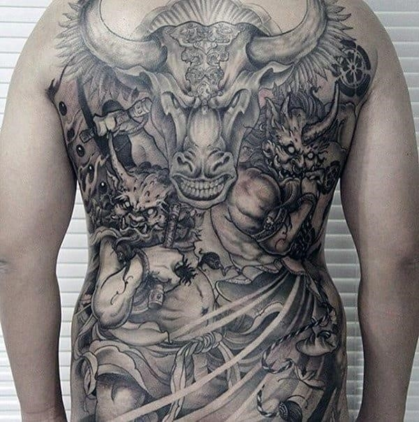 Cool mens full back chinese tattoo design with shaded ink