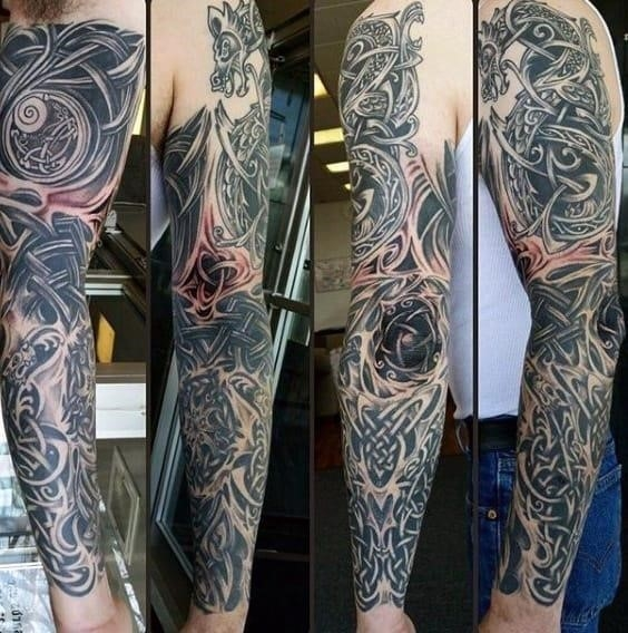 Cool mens full sleeve celtic knot tattoos