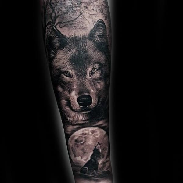 Cool moon and wolves guys forearm tattoos