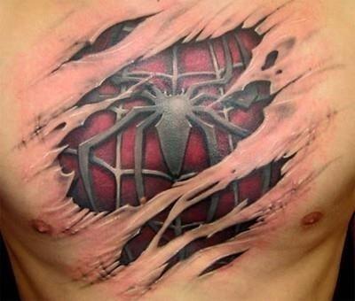 Cool spiderman chest tattoo 36582792