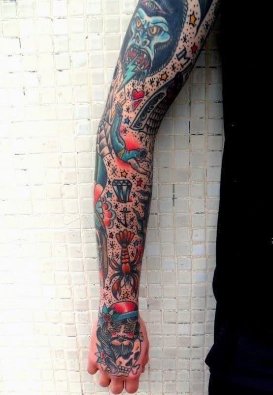 Cool symbols guys traditional full arm sleeve tattoos