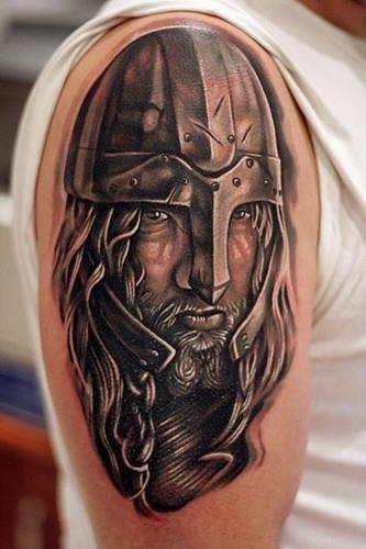 Crazy viking tattoo on man right half sleeve
