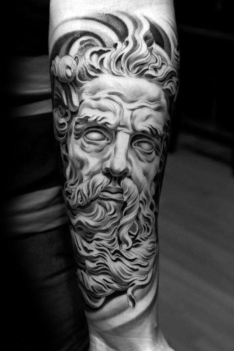 Creative black and grey forearm roman statue tattoos for men