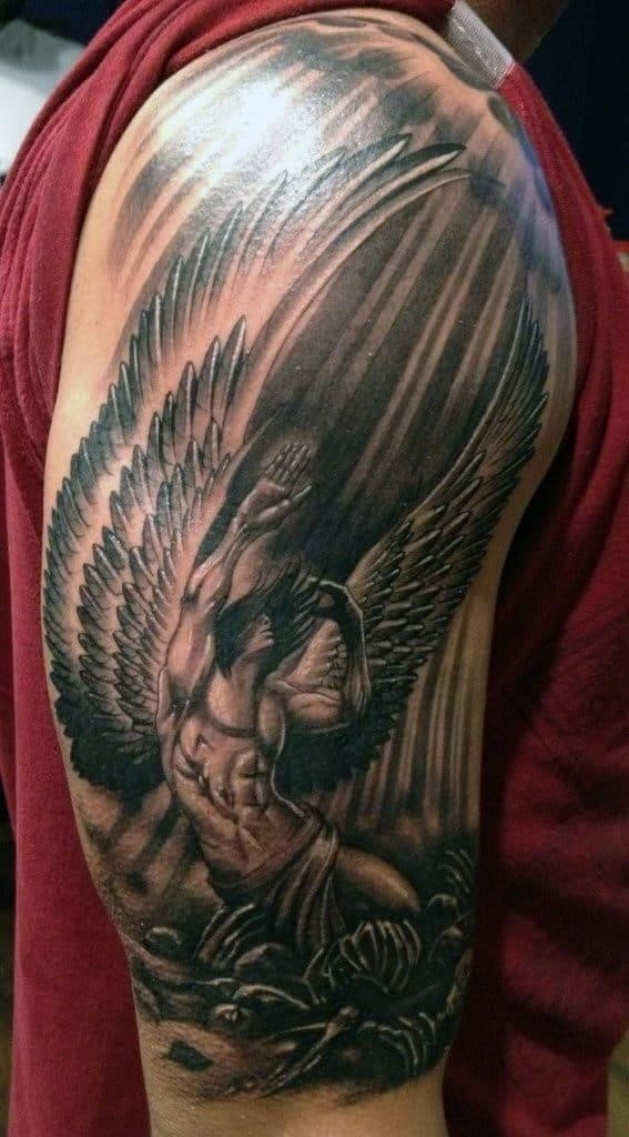 Creative mens ink angel tattoo