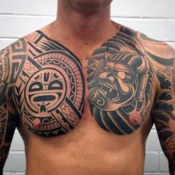 Creative tribal chest tattoo designs for men