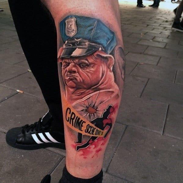 Crime scene police dog mens leg tattoo