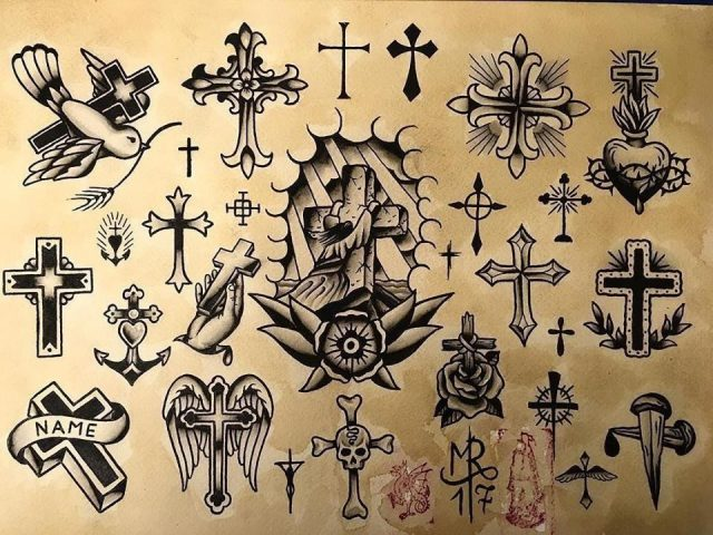 Cross tattoo designs flash