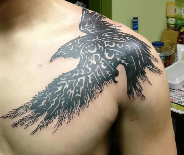 Crow raven shoulder tattoo