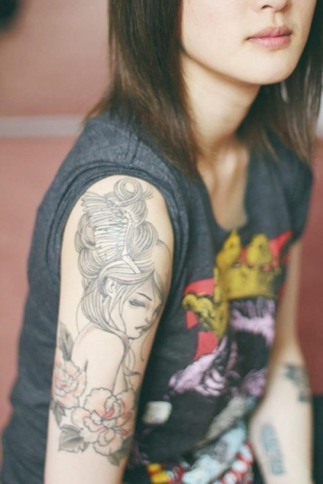 Cute sleeve tattoo design for girl