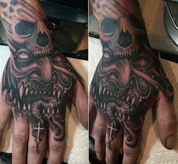 Demon hand tattoo on gentlemen