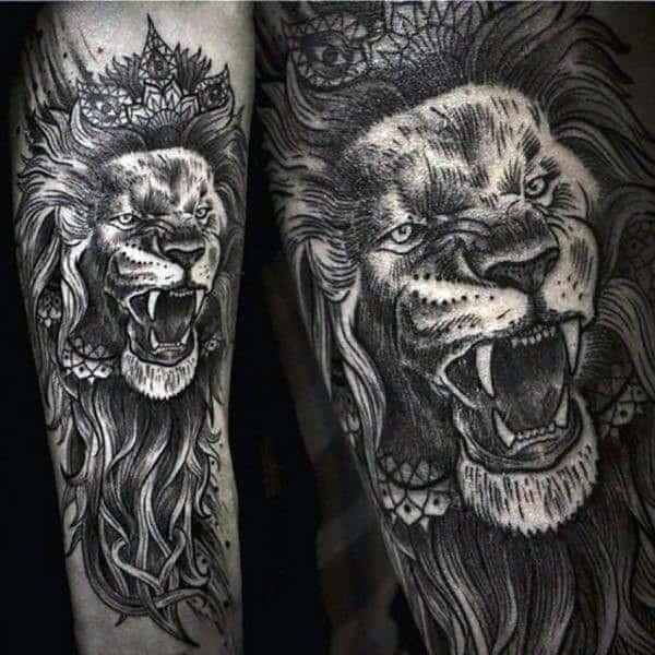 Detailed awesome lion tattoos for men