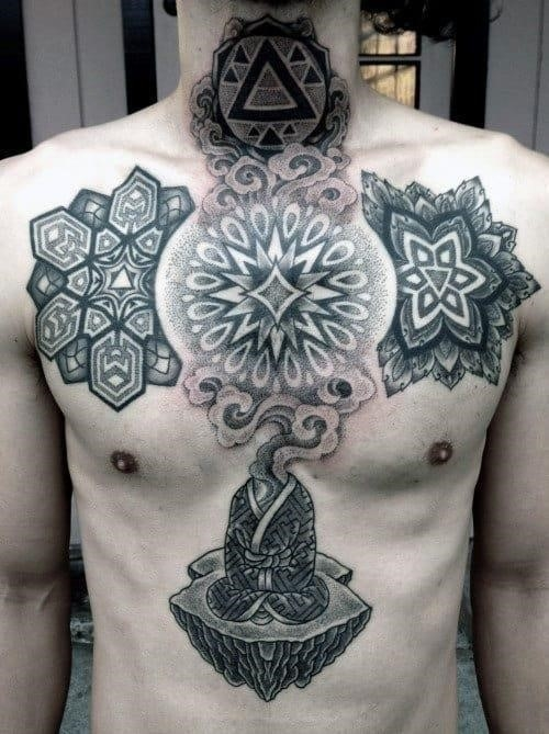 Dot work sacred geometry male tattoo designs on chest and neck