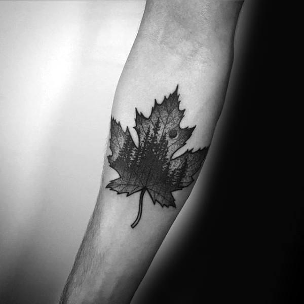 Dotwork nature maple leaf mens inner forearm tattoo designs