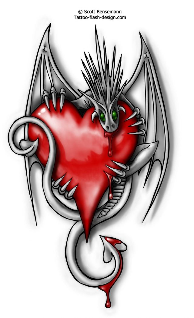 Dragon with red heart tattoo design