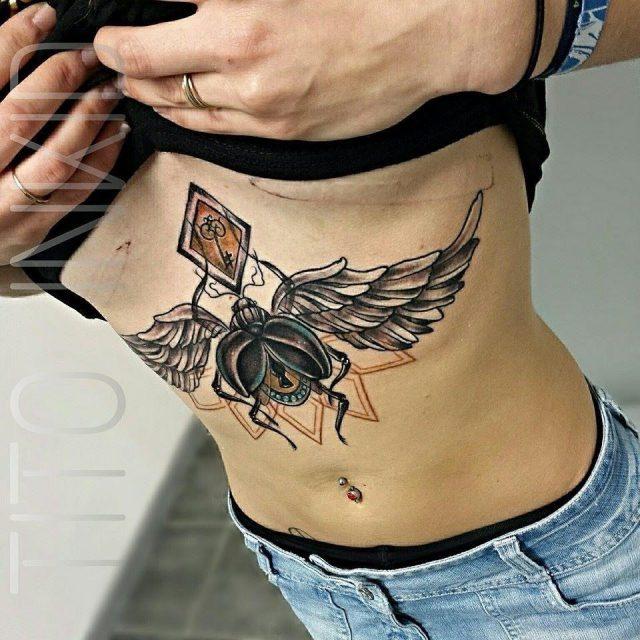 Elegant sternum tattoo design