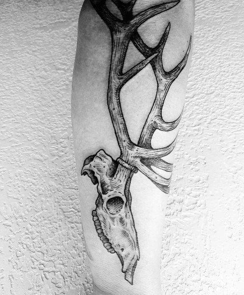 Elk skull guys forearm tattoo