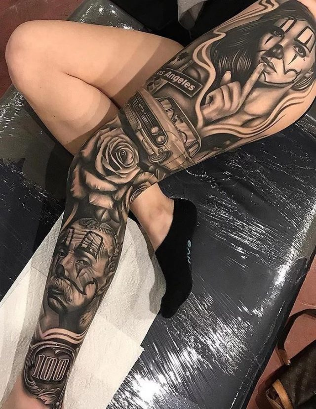 Epic leg tattoos los angeles