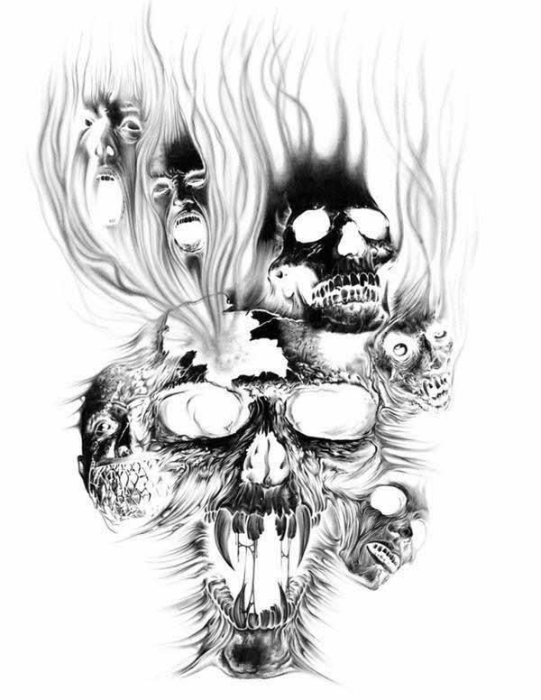 Evil skull tattoos designs
